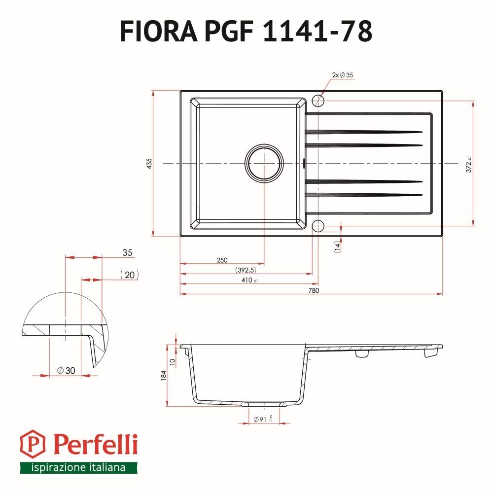 Мийка кухонна гранітна  Perfelli FIORA PGF 1141-78 BLACK METALLIC