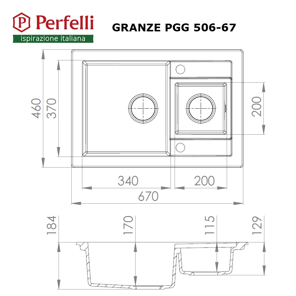 Granite kitchen sink Perfelli GRANZE PGG 506-67 LIGHT BEIGE