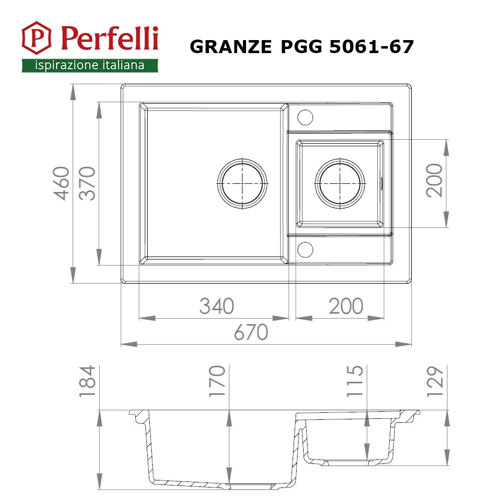 Granite kitchen sink Perfelli GRANZE PGG 5061-67 BLACK METALLIC