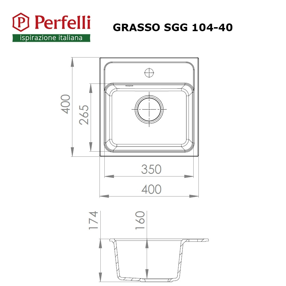 Granite kitchen sink Perfelli GRASSO SGG 104-40 SAND