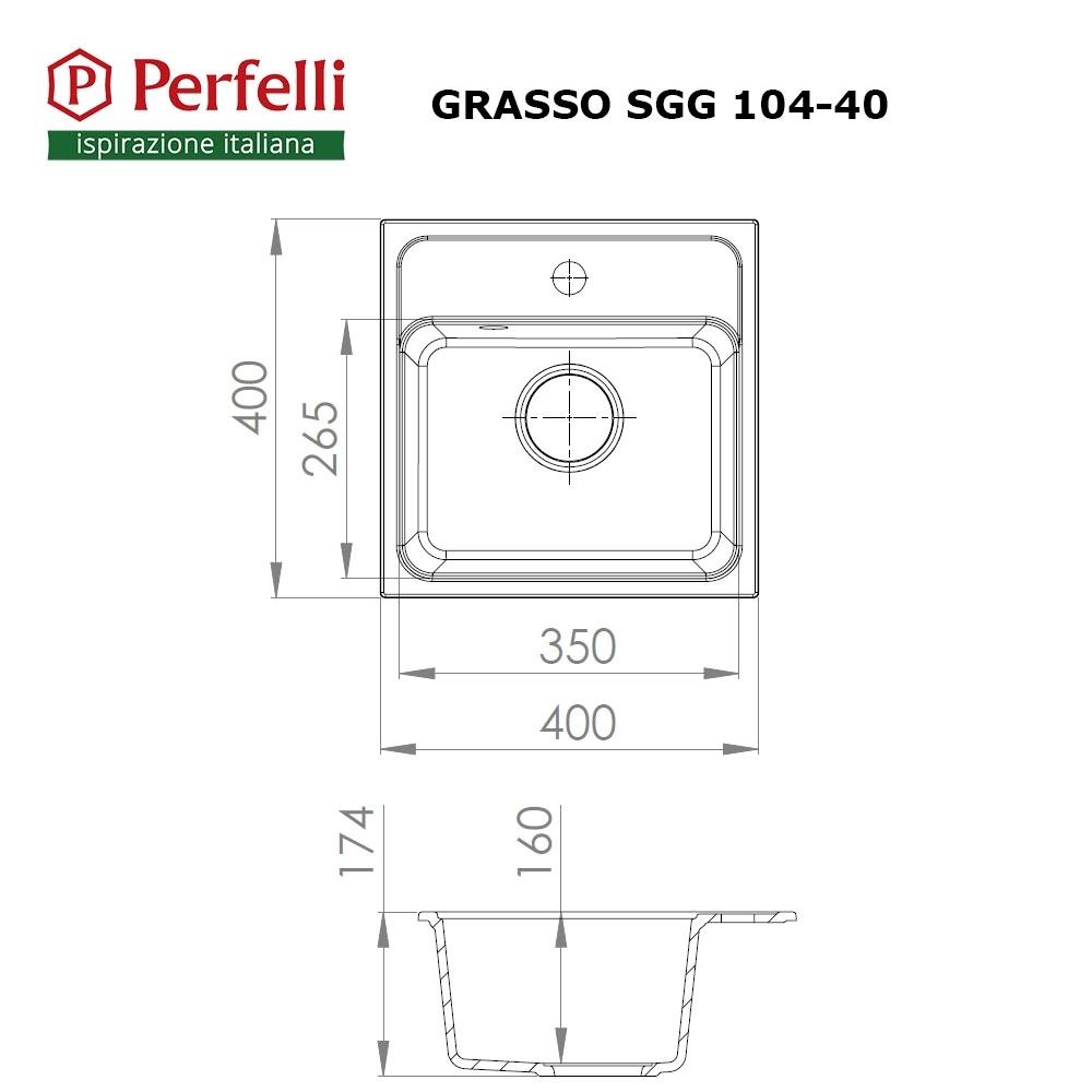 Мойка кухонная гранитная  Perfelli GRASSO SGG 104-40 BLACK