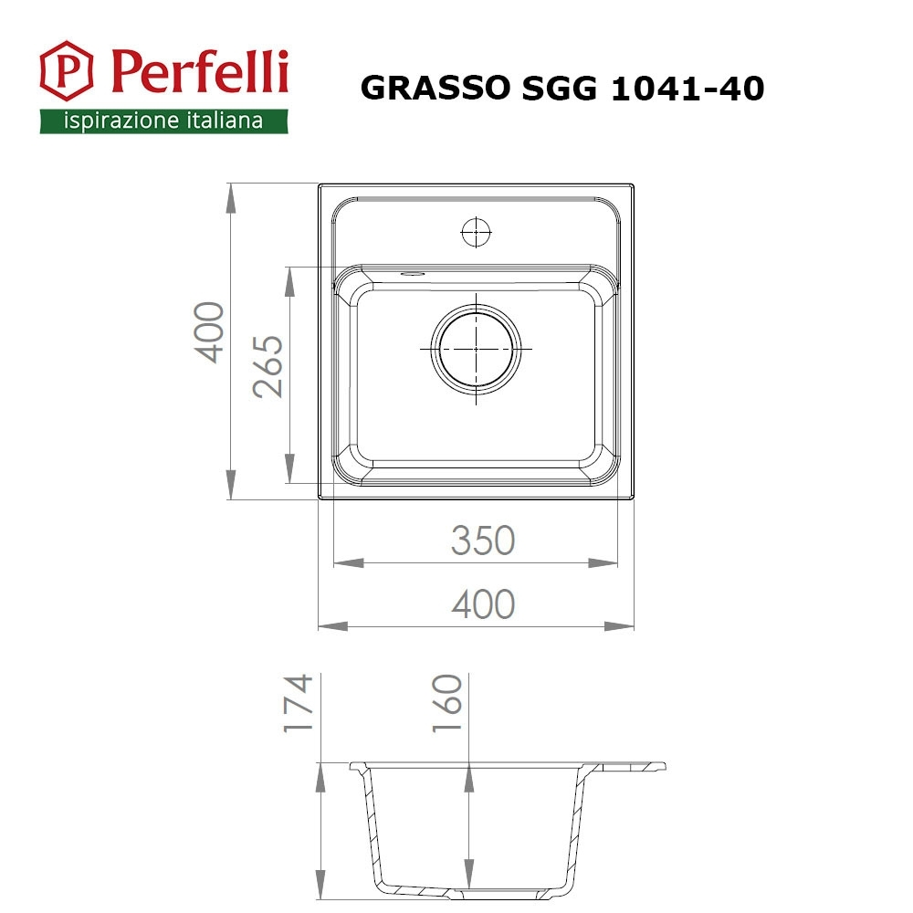 Granite kitchen sink Perfelli GRASSO SGG 1041-40 BLACK METALLIC