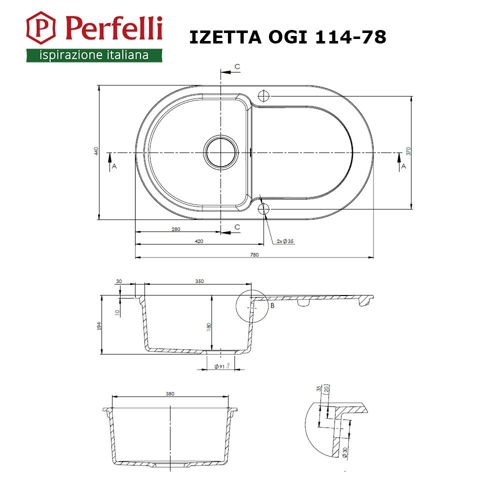 Granite kitchen sink Perfelli IZETTA OGI 114-78 BLACK