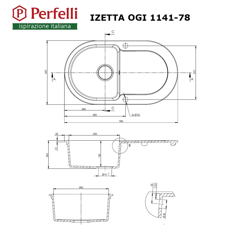 Granite kitchen sink Perfelli IZETTA OGI 1141-78 GREY METALLIC