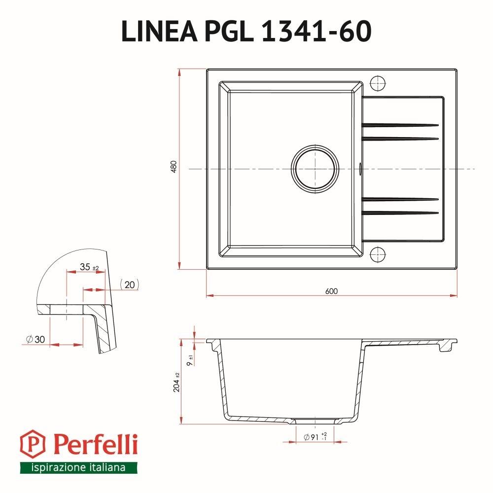 Мойка кухонная гранитная  Perfelli LINEA PGL 1341-60 BLACK METALLIC