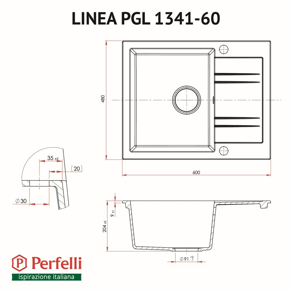 Granite kitchen sink Perfelli LINEA PGL 1341-60 GREY METALLIC