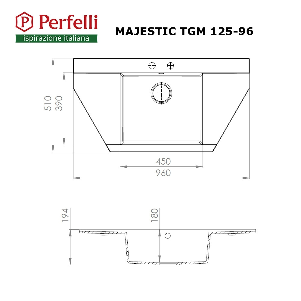 Granite kitchen sink Perfelli MAJESTIC TGM 125-96 WHITE