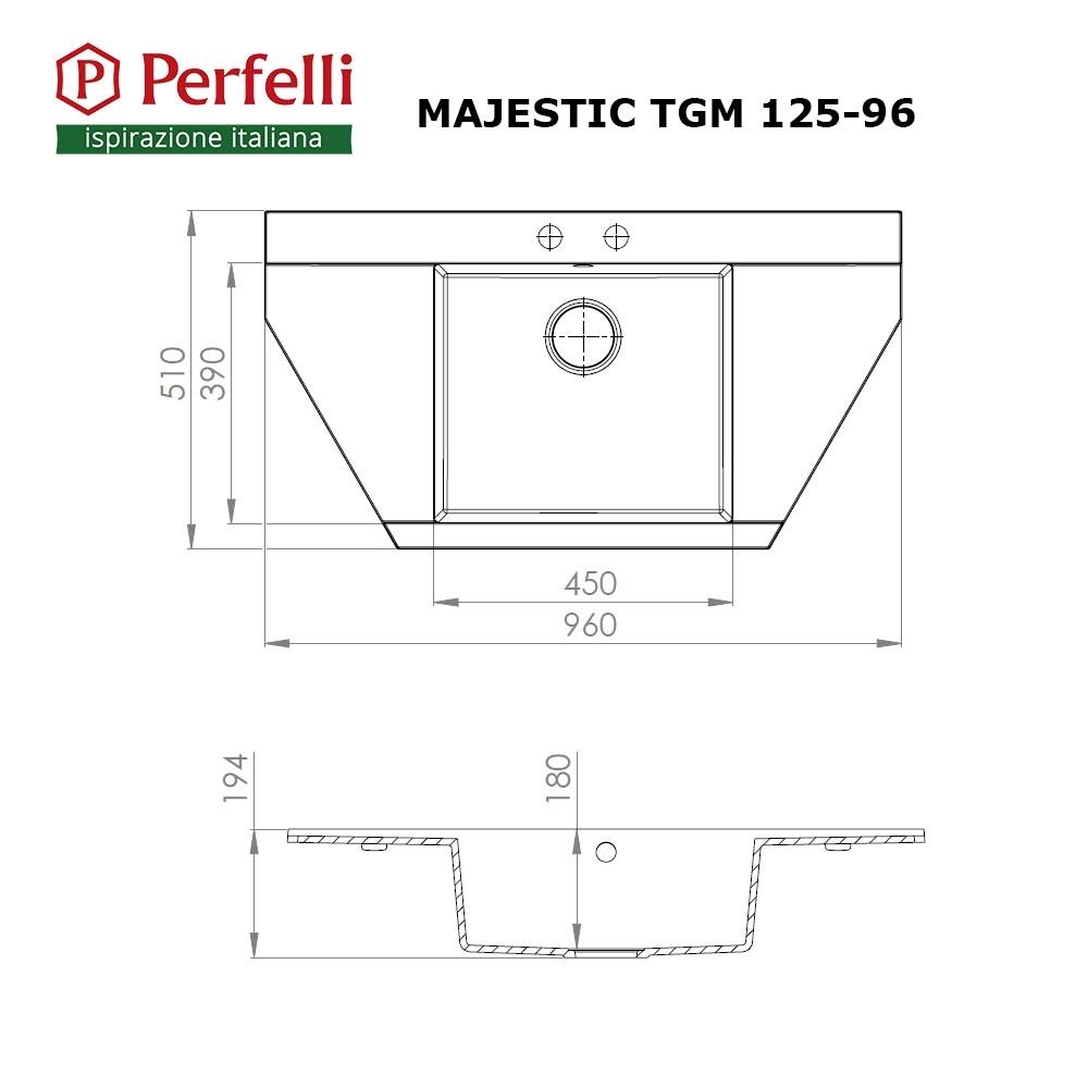 Мойка кухонная гранитная  Perfelli MAJESTIC TGM 125-96 BLACK