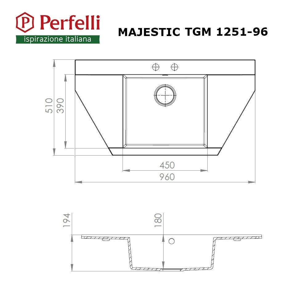 Granite kitchen sink Perfelli MAJESTIC TGM 1251-96 GREY METALLIC