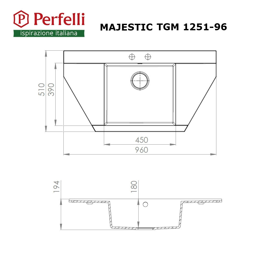 Granite kitchen sink Perfelli MAJESTIC TGM 1251-96 BLACK METALLIC