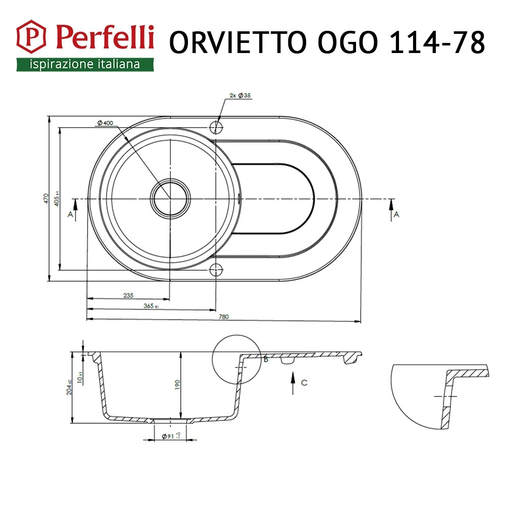 Granite kitchen sink Perfelli ORVIETTO OGO 114-78 BLACK