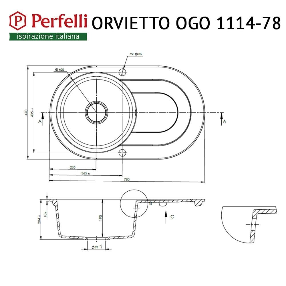 Мойка кухонная гранитная  Perfelli ORVIETTO OGO 1114-78 BLACK METALLIC