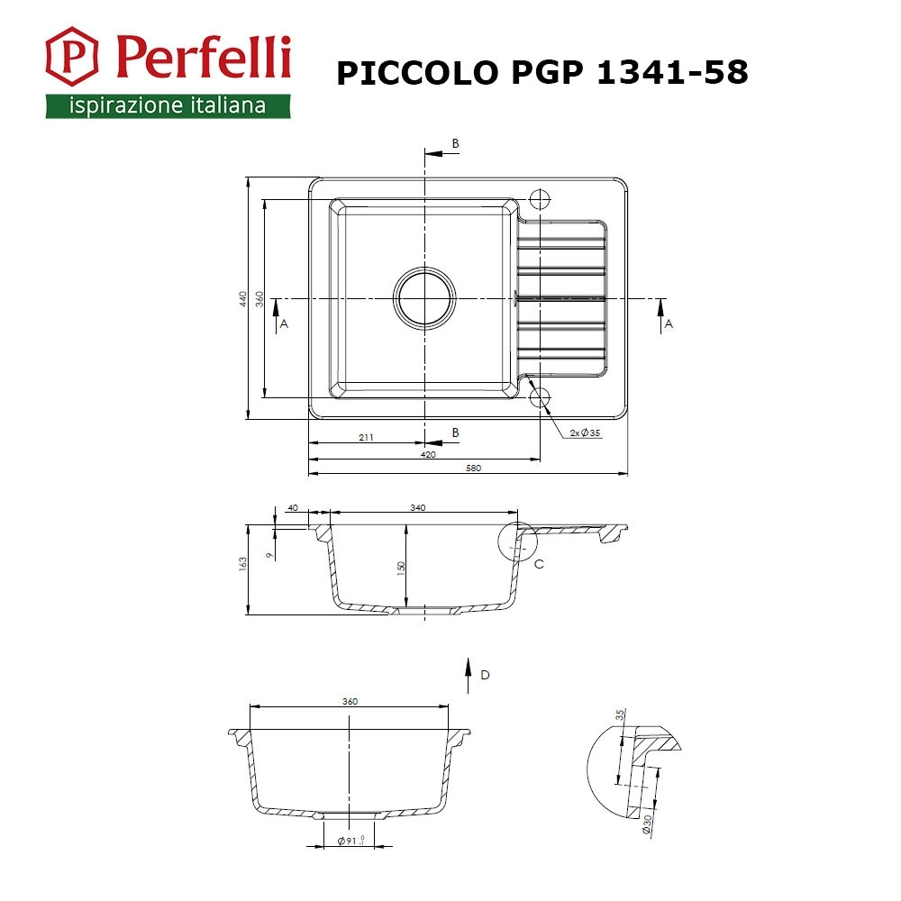 Granite kitchen sink Perfelli PICCOLO PGP 1341-58 BLACK METALLIC