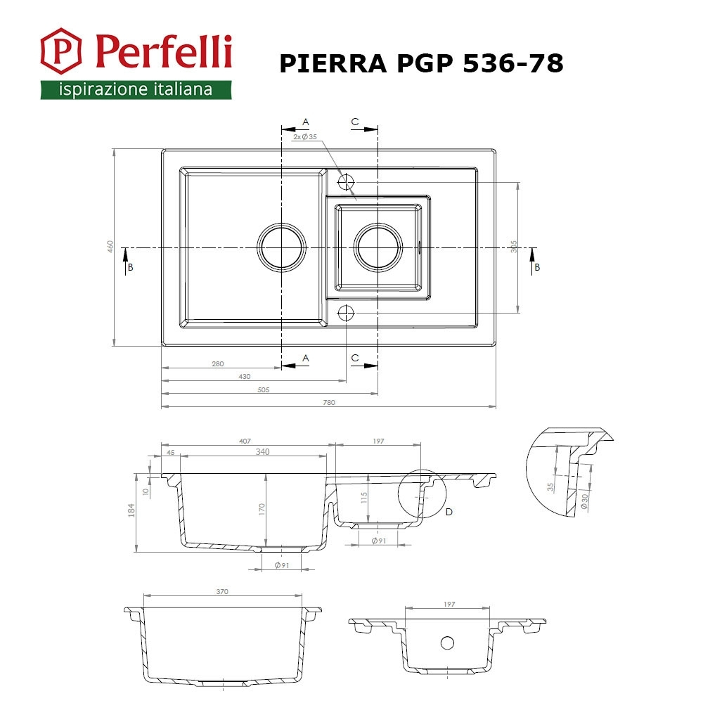 Granite kitchen sink Perfelli PIERRA PGP 536-78 WHITE