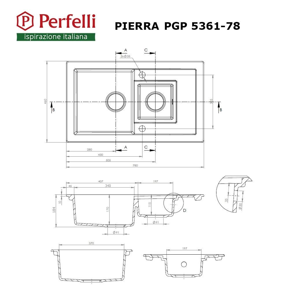 Granite kitchen sink Perfelli PIERRA PGP 5361-78 GREY METALLIC