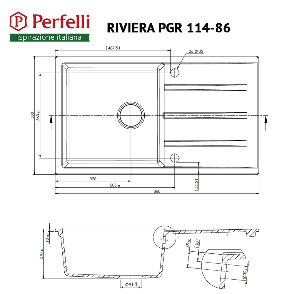 Granite kitchen sink Perfelli RIVIERA PGR 114-86 LIGHT BEIGE