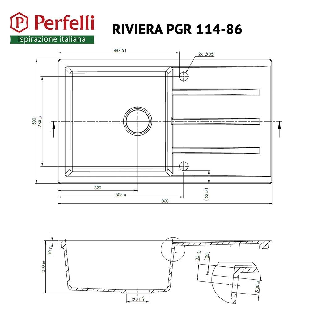 Мойка кухонная гранитная  Perfelli RIVIERA PGR 114-86 BLACK