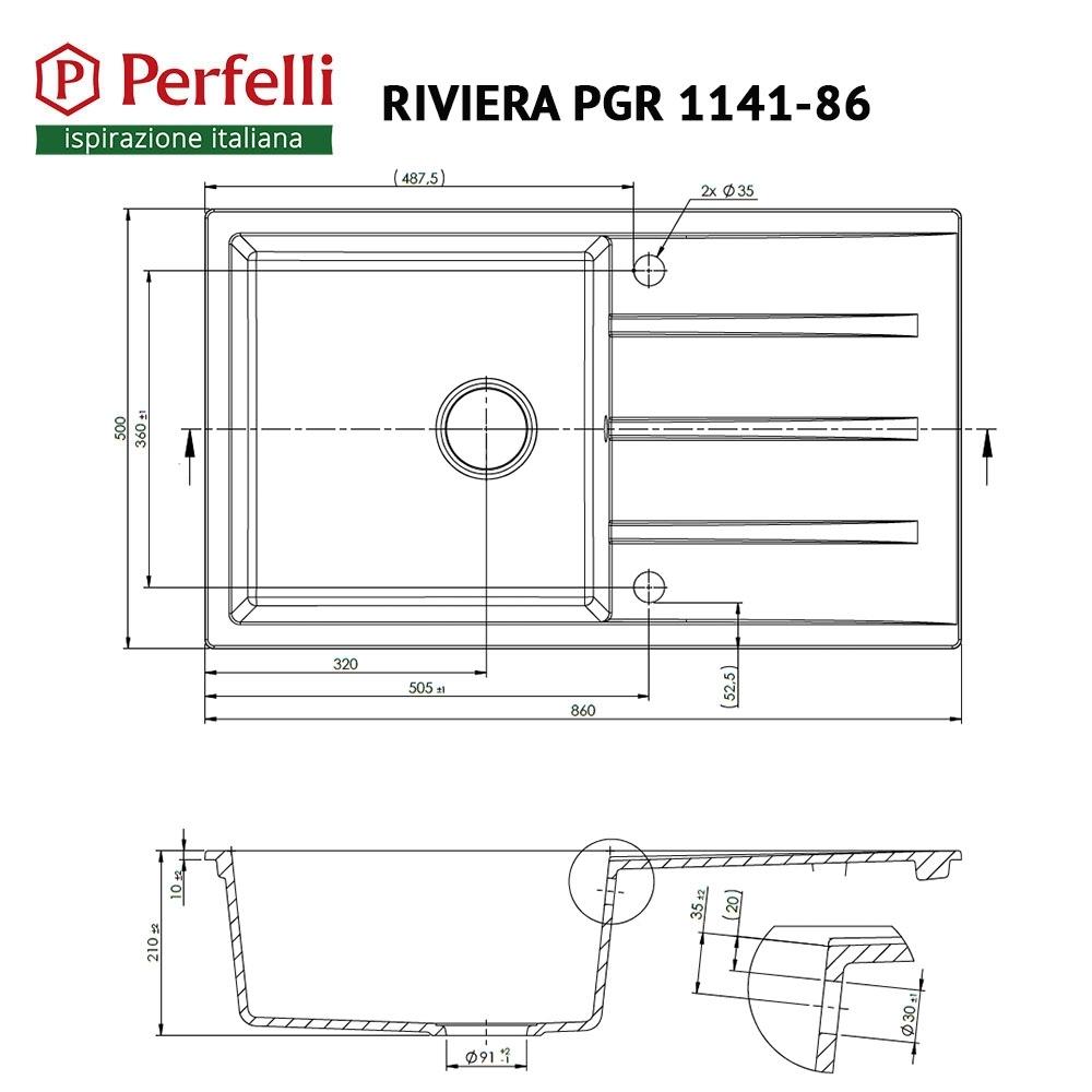 Мойка кухонная гранитная  Perfelli RIVIERA PGR 1141-86 GREY METALLIC