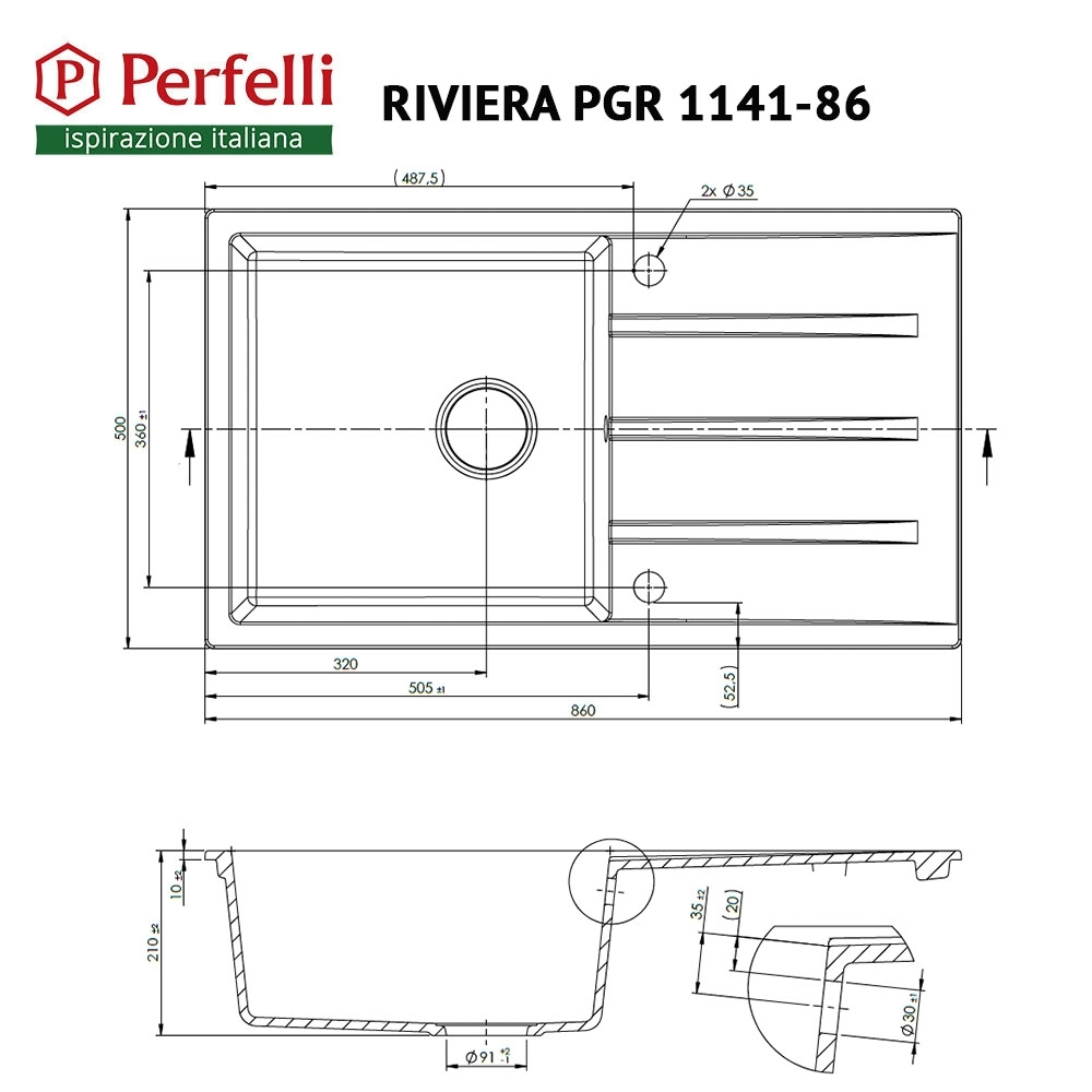 Granite kitchen sink Perfelli RIVIERA PGR 1141-86 BLACK METALLIC