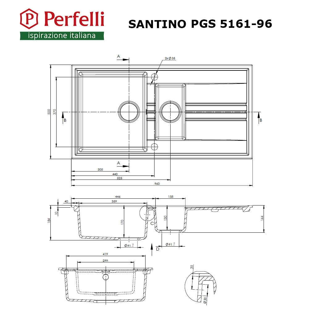 Granite kitchen sink Perfelli SANTINO PGS 5161-96 BLACK METALLIC
