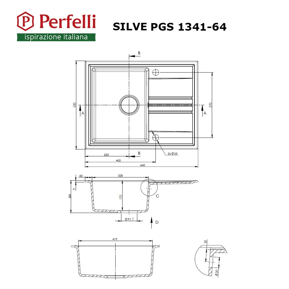 Мойка кухонная гранитная  Perfelli SILVE PGS 1341-64 BLACK METALLIC