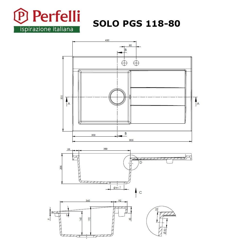 Granite kitchen sink Perfelli SOLO PGS 118-80 WHITE