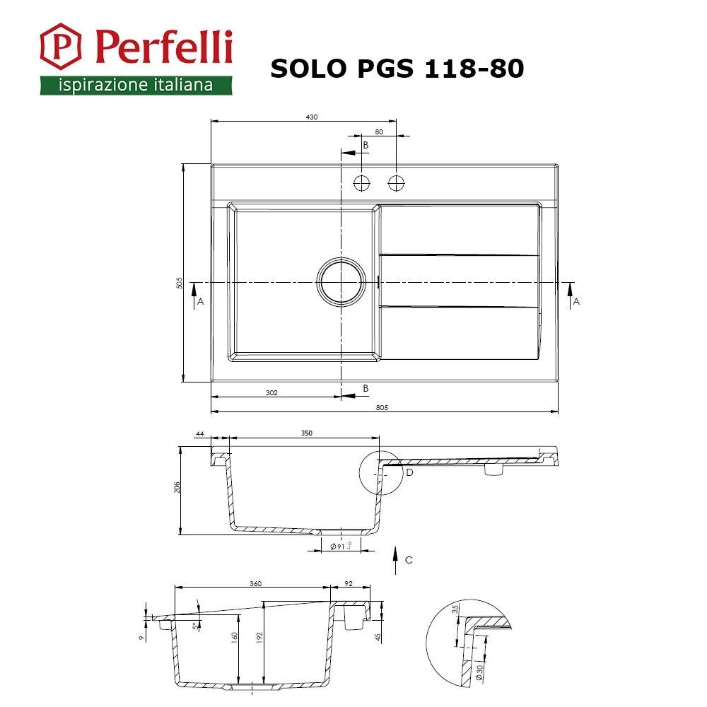 Мойка кухонная гранитная Perfelli SOLO PGS 118-80 BLACK