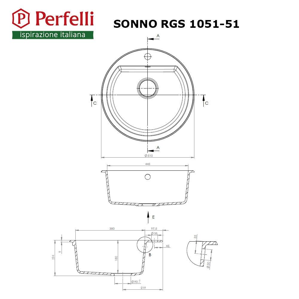 Granite kitchen sink Perfelli SONNO RGS 1051-51 BLACK METALLIC