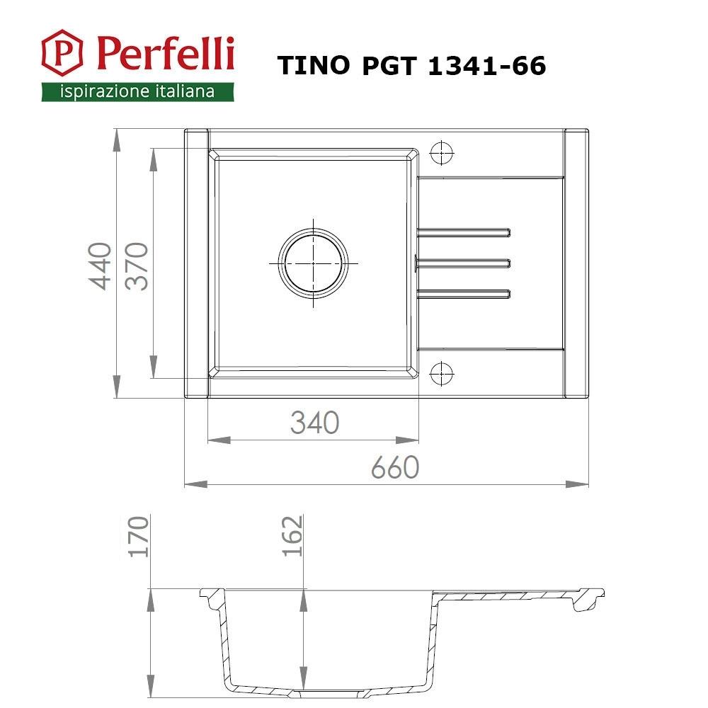 Мойка кухонная гранитная  Perfelli TINO PGT 1341-66 GREY METALLIC
