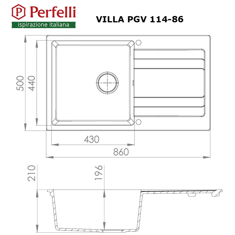 Granite kitchen sink Perfelli VILLA PGV 114-86 BLACK