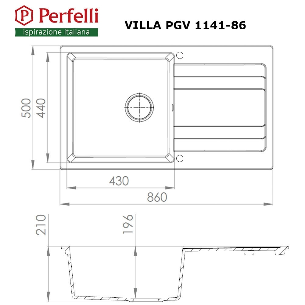 Мойка кухонная гранитная  Perfelli VILLA PGV 1141-86 GREY METALLIC