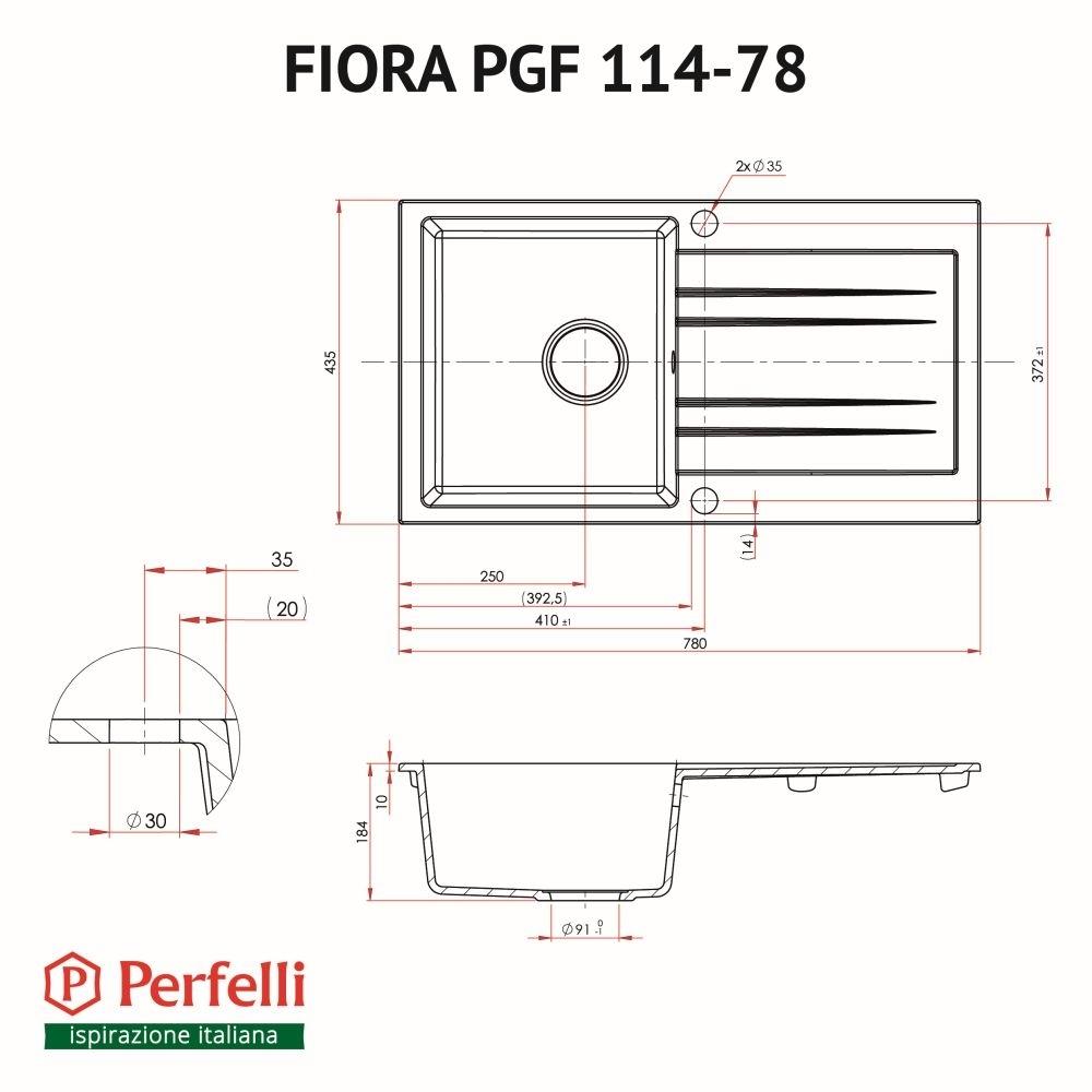 Мойка кухонная гранитная  Perfelli FIORA PGF 114-78 BLACK