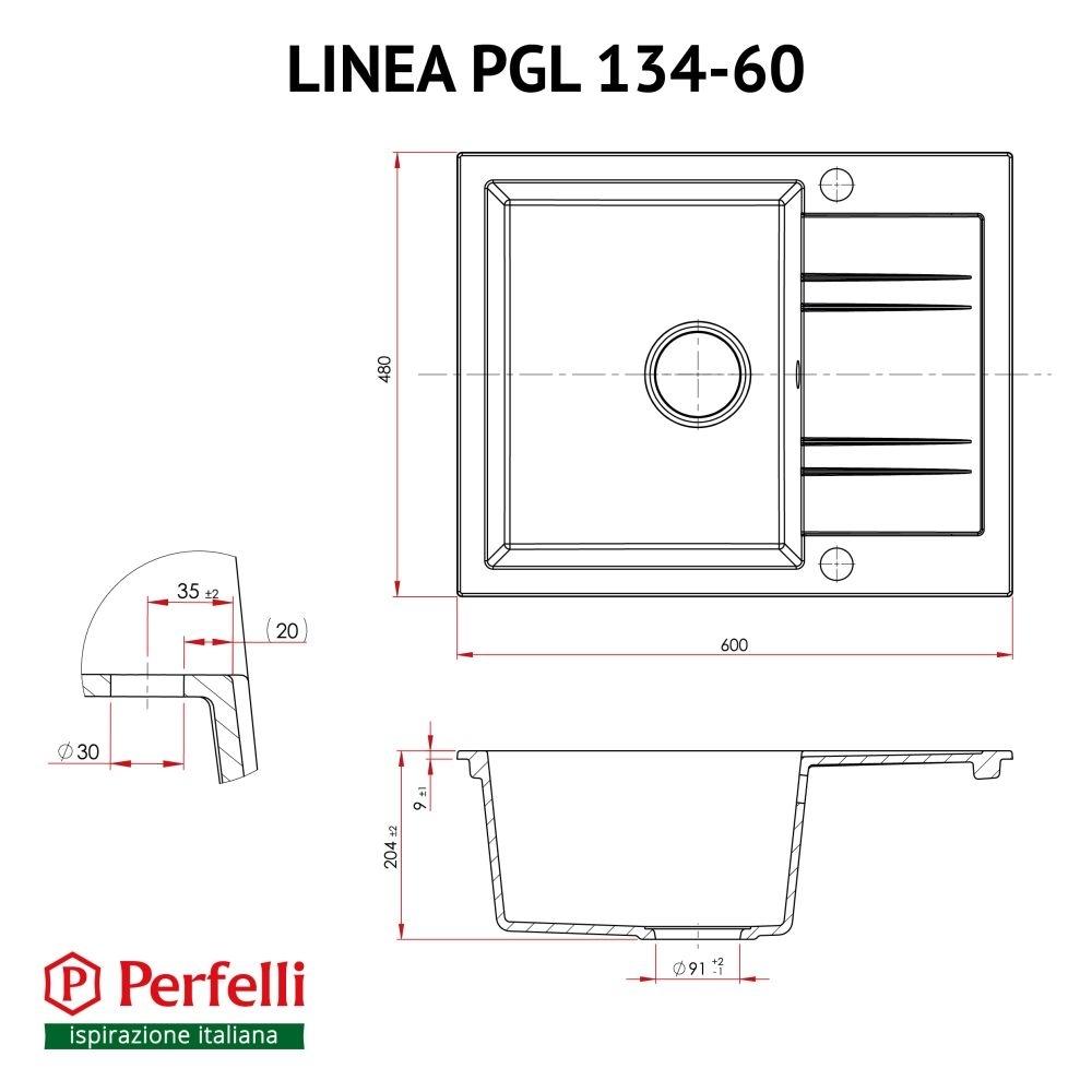 Мойка кухонная гранитная  Perfelli LINEA PGL 134-60 BLACK