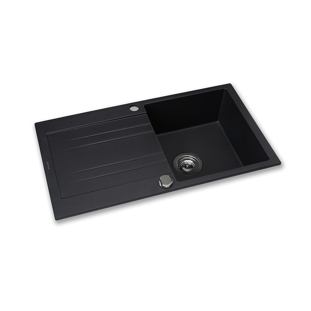 Granite kitchen sink Perfelli FIORA PGF 114-78 BLACK