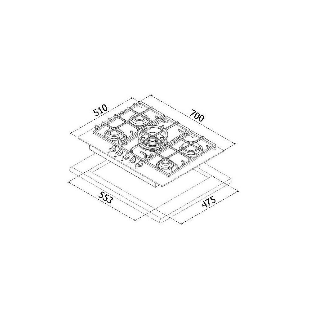Поверхность газовая на стекле Perfelli design HGV 7540 NERO Venere