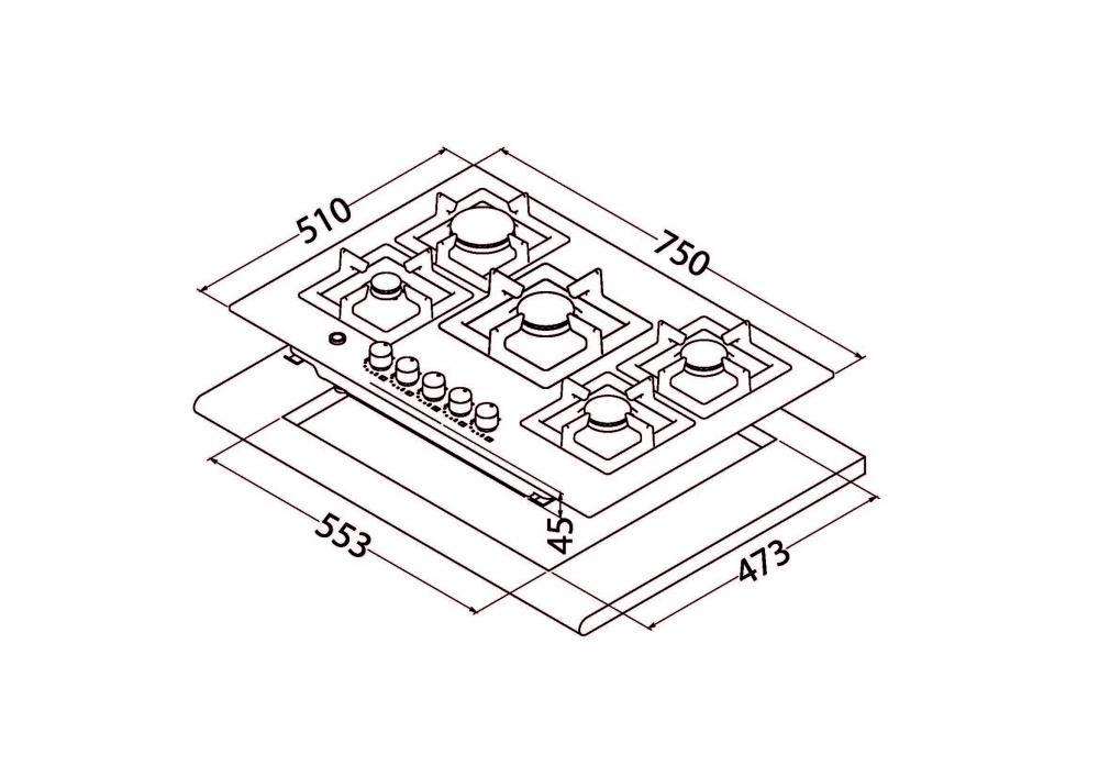 Gas Surface On Metal Perfelli design HGM 7530 INOX SLIM LINE