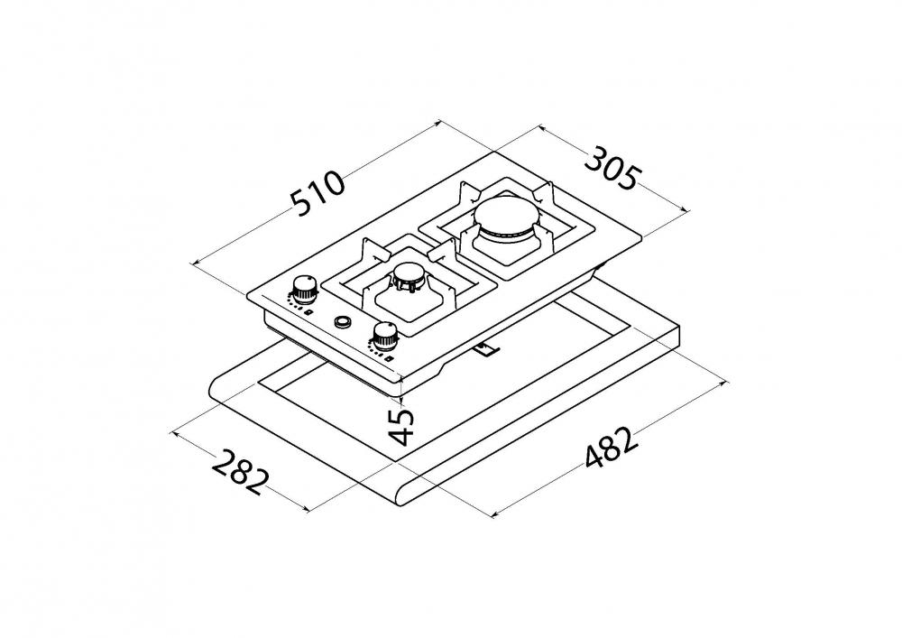 Gas Surface On Metal Perfelli design HGM 3230 INOX SLIM LINE