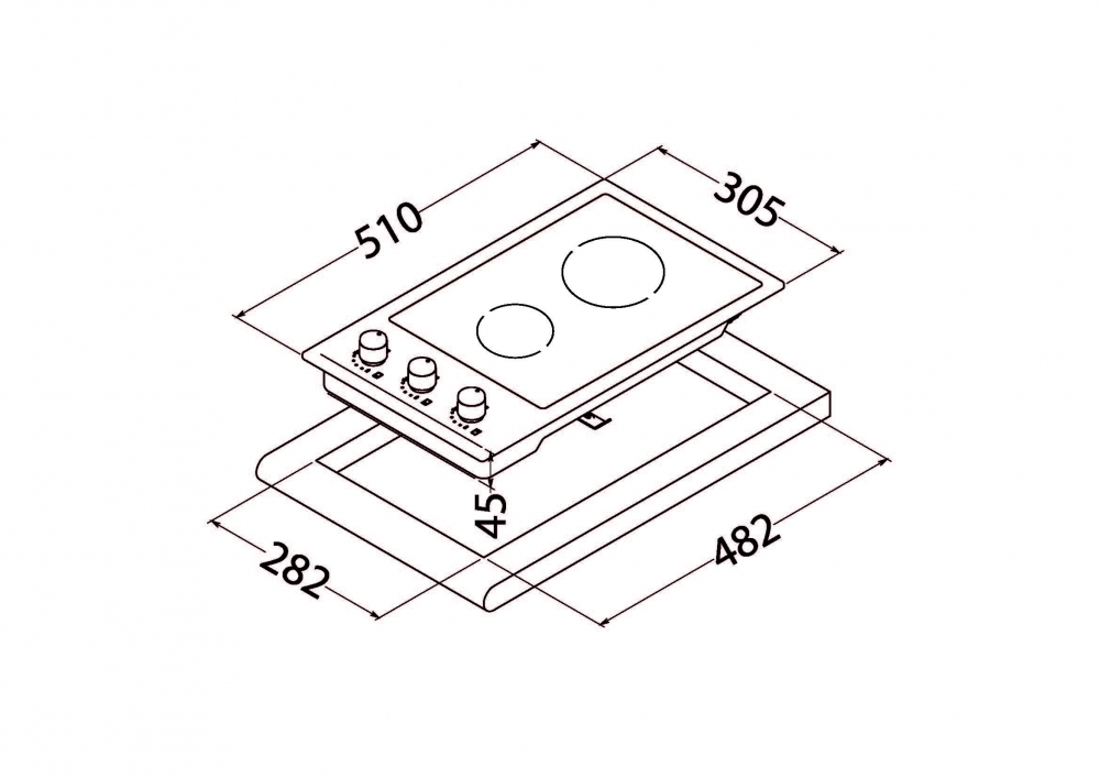 Поверхность стеклокерамическая Domino Perfelli design HVC 3220 INOX SLIM LINE
