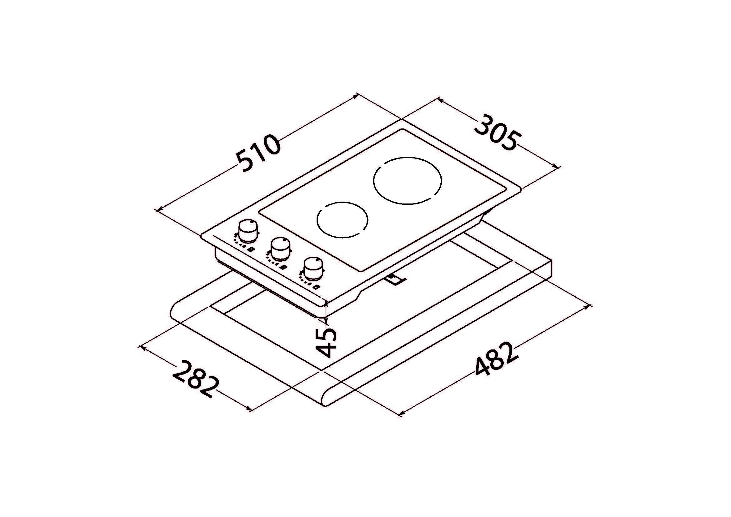 Glass ceramic surface Perfelli design HVC 3220 INOX SLIM LINE