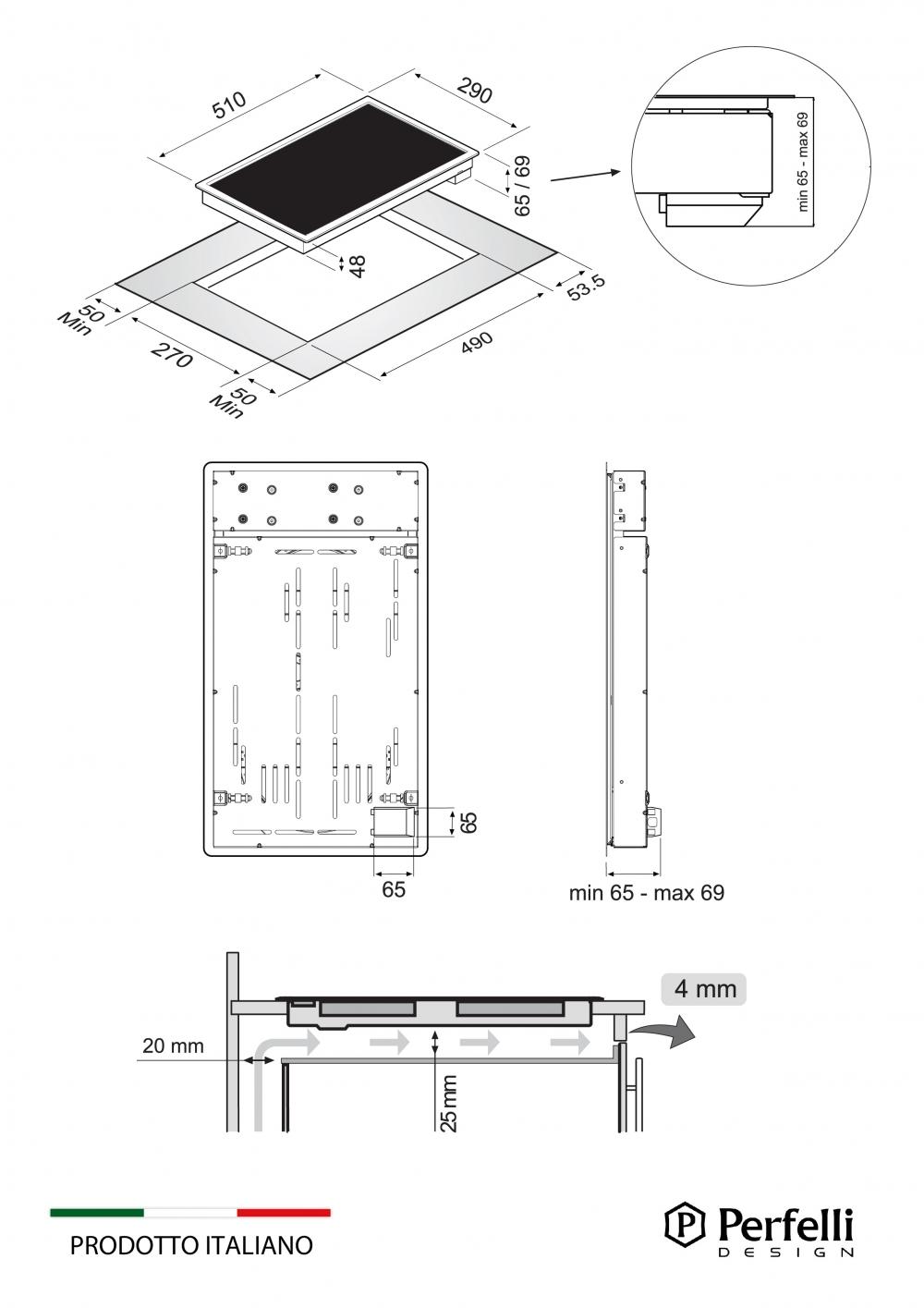 Поверхность стеклокерамическая Domino Perfelli design HVC 3110 BL