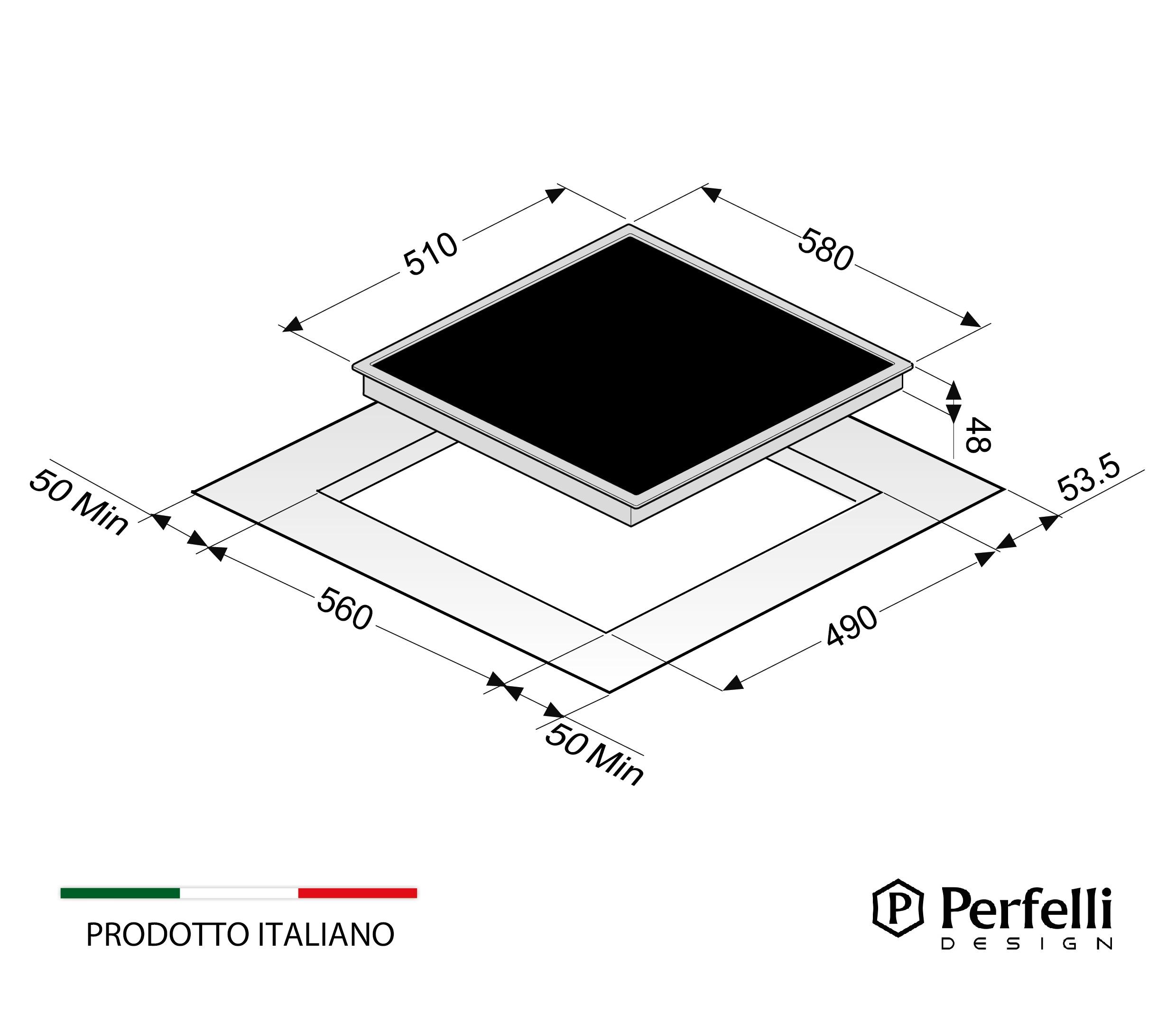 Glass ceramic surface Perfelli HVC 6310 BL