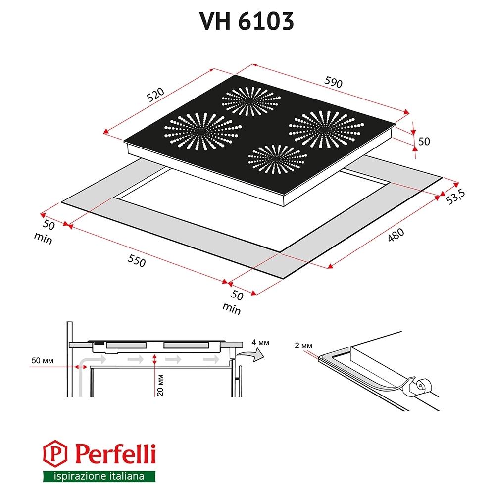 Glass ceramic surface Perfelli VH 6103 BL
