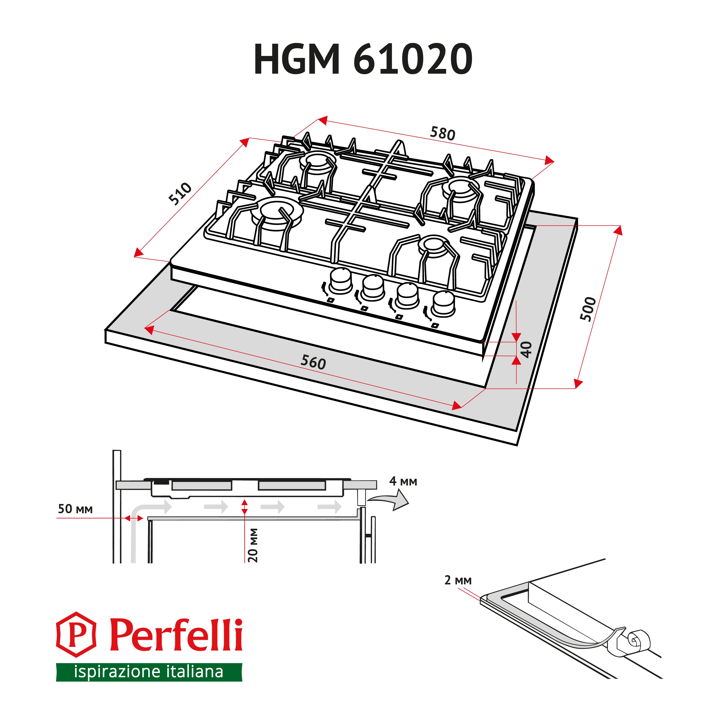 Gas Surface On Metal Perfelli HGM 61020 WH
