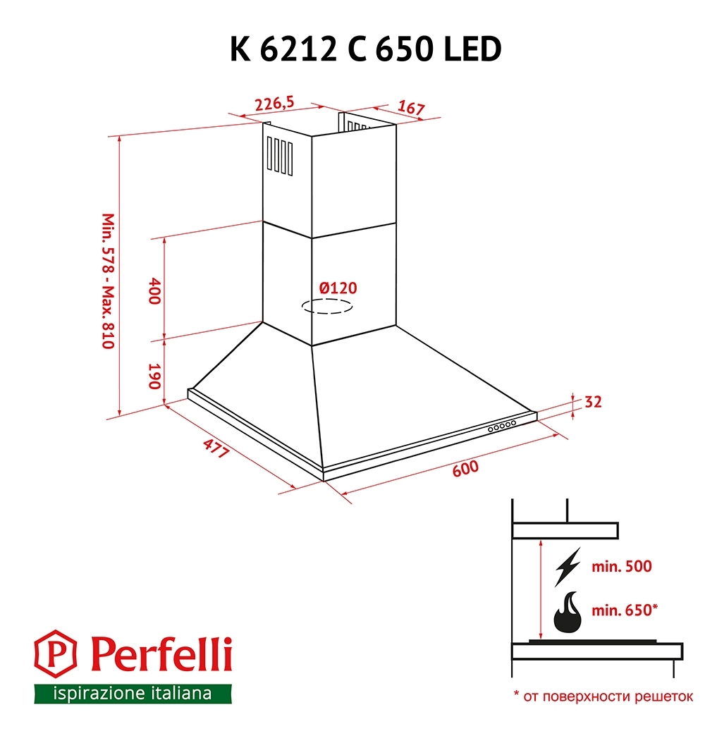 Dome hood Perfelli K 6212 C IV 650 LED