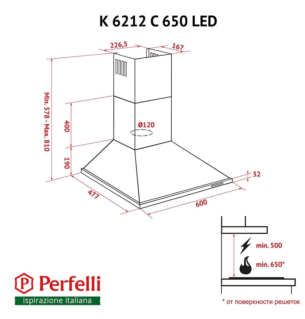 Витяжка купольна Perfelli K 6212 C WH 650 LED