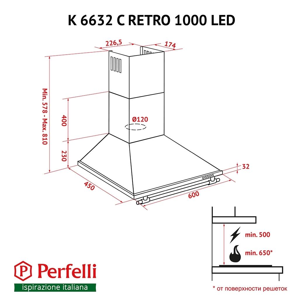 Dome hood Perfelli K 6632 C BL RETRO 1000 LED