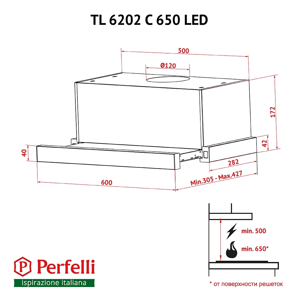 Hood telescopic Perfelli TL 6202 C S / I 650 LED