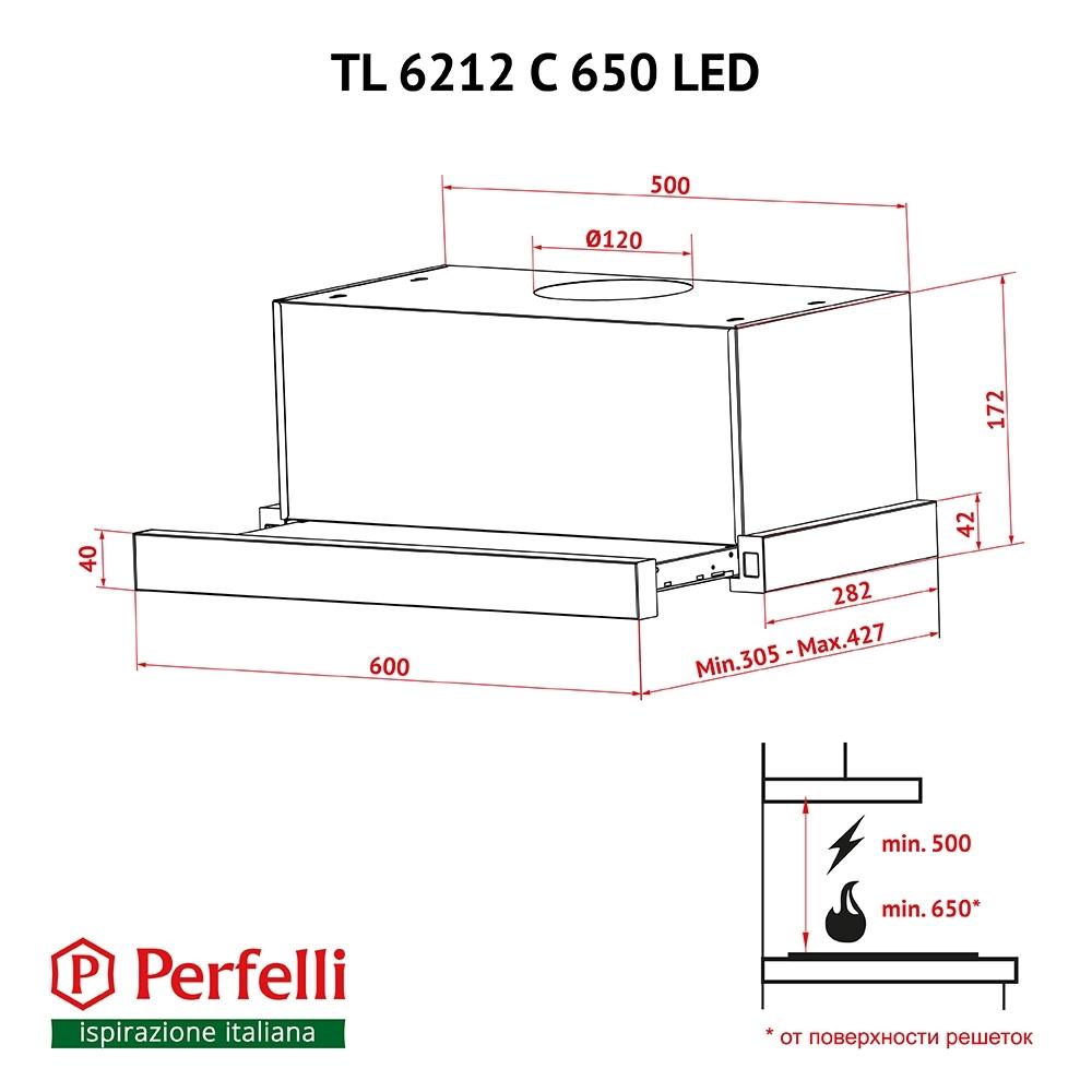 Вытяжка телескопическая Perfelli TL 6212 C BL 650 LED