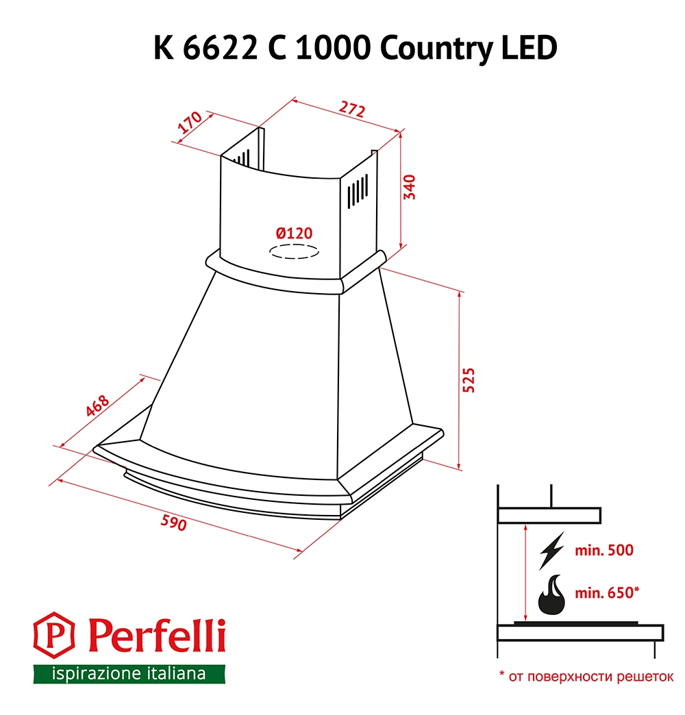 Dome hood Perfelli K 6622 C BL 1000 COUNTRY LED
