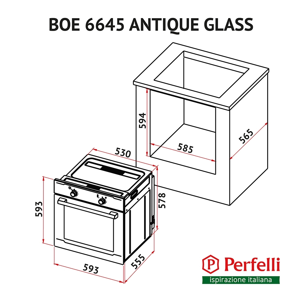 Духовка Perfelli BOE 6645 BL ANTIQUE GLASS